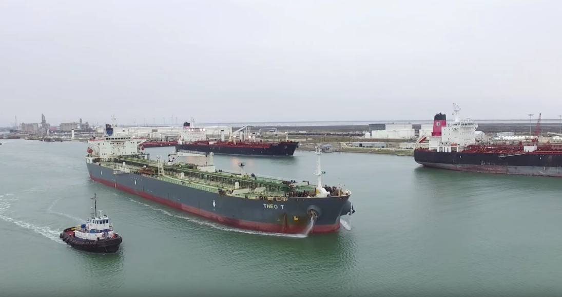 On January 4, 2016, ConocoPhillips became the first company to export U.S. crude oil following the reversal of a 40-year-old ban. The Theo T is shown exiting the Port of Corpus Christi in Texas with an inaugural shipment, headed for Europe.