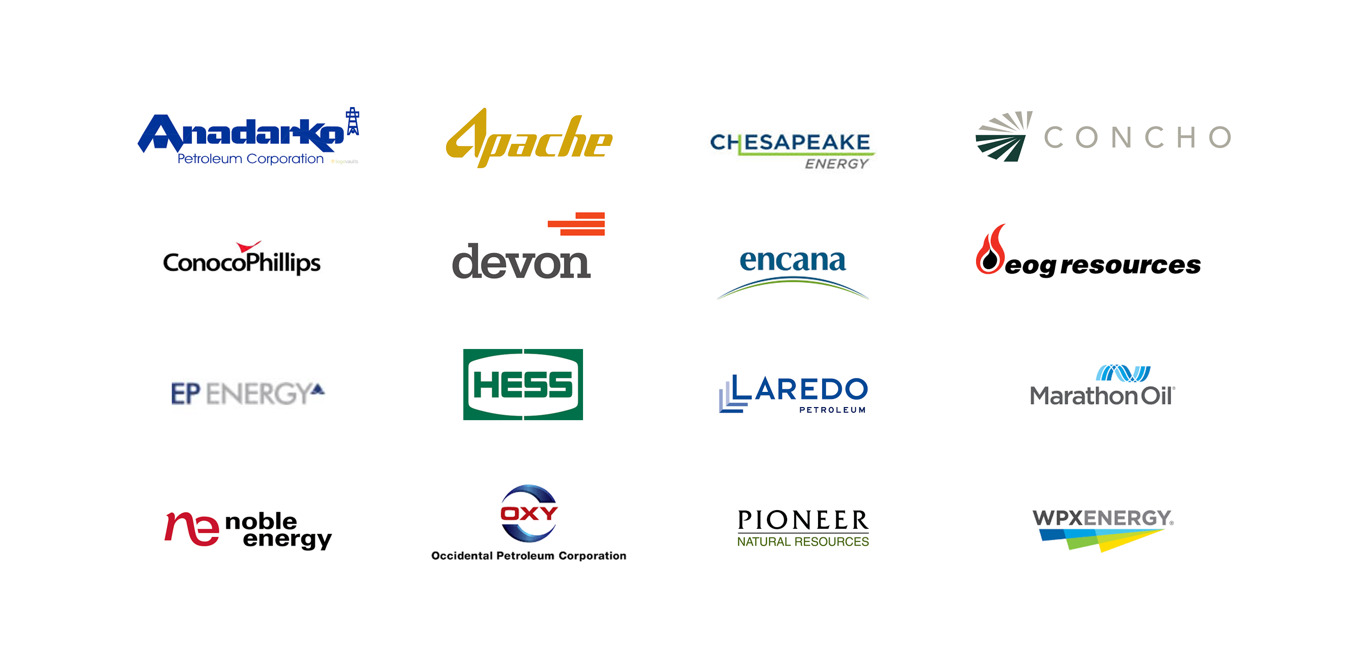 Logos of the 16 corporate members of Producers for American Crude Oil Exports, or PACE, which lobbied to overturn a crude oil export ban.