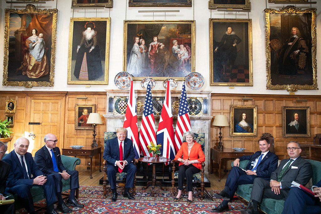 President Donald Trump joined British Prime Minister Theresa May for a press conference on July 13, 2018 during a trip to England.